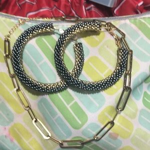 Large handmade beaded hoops